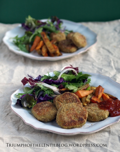 chickpea schnitzel patties from 'High Protein Vegan'